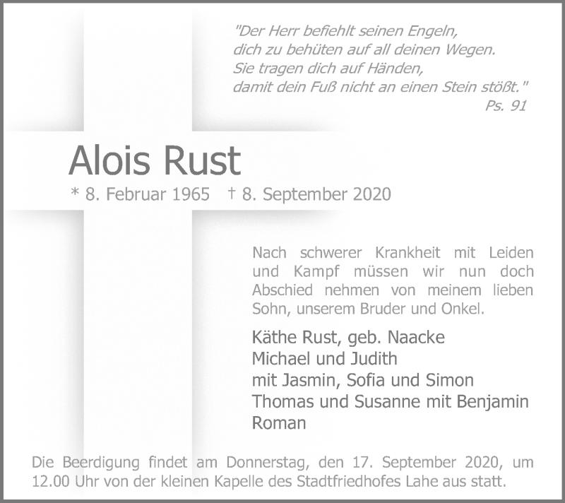 Traueranzeige für Alois Rust vom 12.09.2020 aus Hannoversche Allgemeine Zeitung/Neue Presse