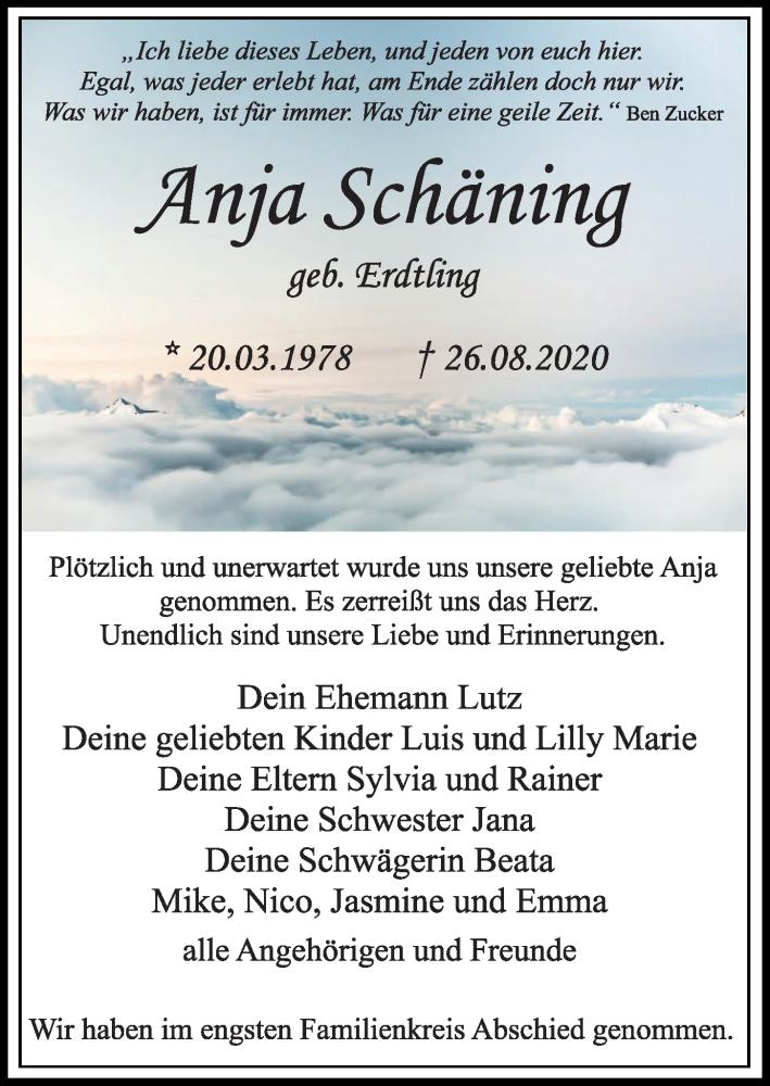 Traueranzeige für Anja Schäning vom 05.09.2020 aus Kieler Nachrichten