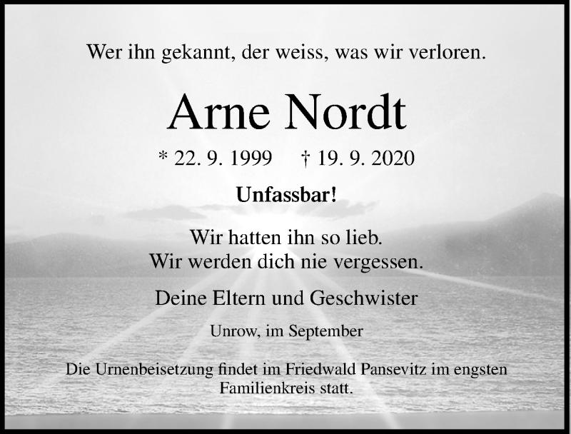 Traueranzeige für Arne Nordt vom 26.09.2020 aus Ostsee-Zeitung GmbH