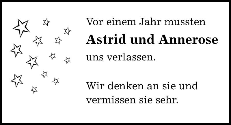 Traueranzeige für Astrid und Annerose  vom 26.09.2020 aus Göttinger Tageblatt