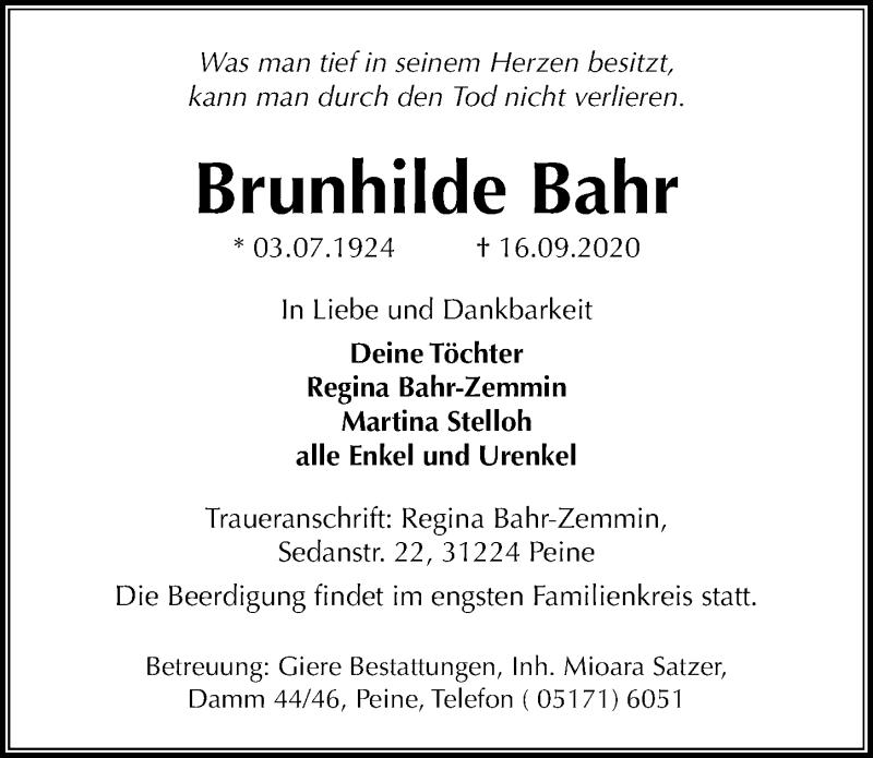 Traueranzeige von  Brunhilde Bahr