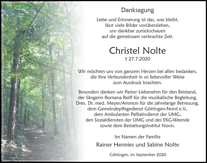 Traueranzeige für Christel Nolte vom 05.09.2020 aus Göttinger Tageblatt