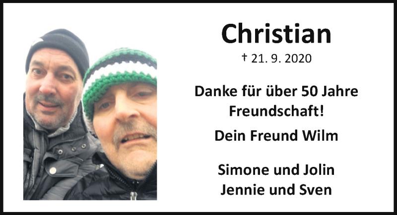 Traueranzeige für Christian Keunecke vom 24.09.2020 aus Aller Zeitung