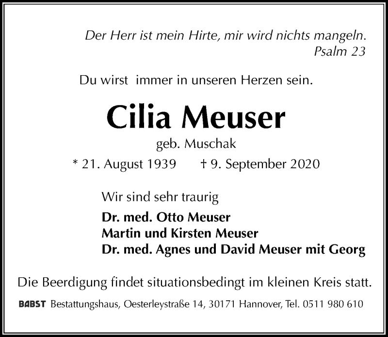 Traueranzeige für Cilia Meuser vom 12.09.2020 aus Hannoversche Allgemeine Zeitung/Neue Presse