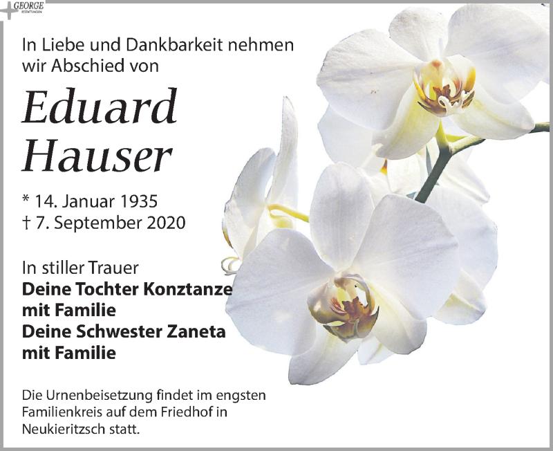 Traueranzeige für Eduard Hauser vom 12.09.2020 aus Leipziger Volkszeitung