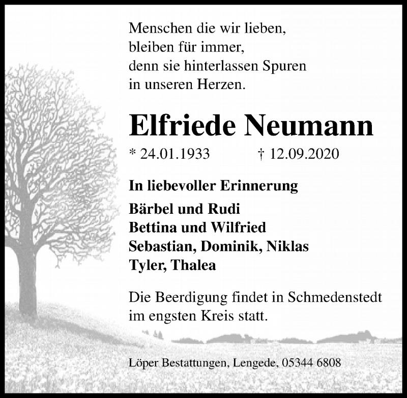 Traueranzeige für Elfriede Neumann vom 15.09.2020 aus Peiner Allgemeine Zeitung
