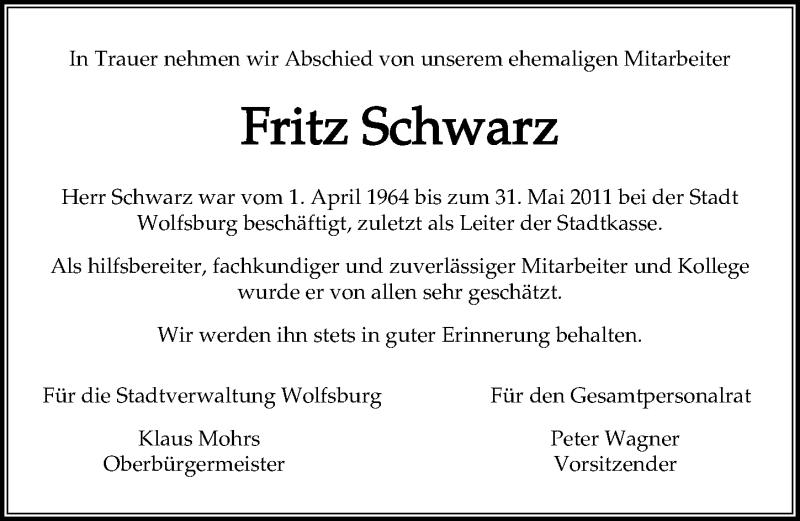 Traueranzeige für Fritz Schwarz vom 24.09.2020 aus Aller Zeitung