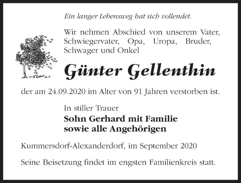 Traueranzeige von  Günter Gellenthin