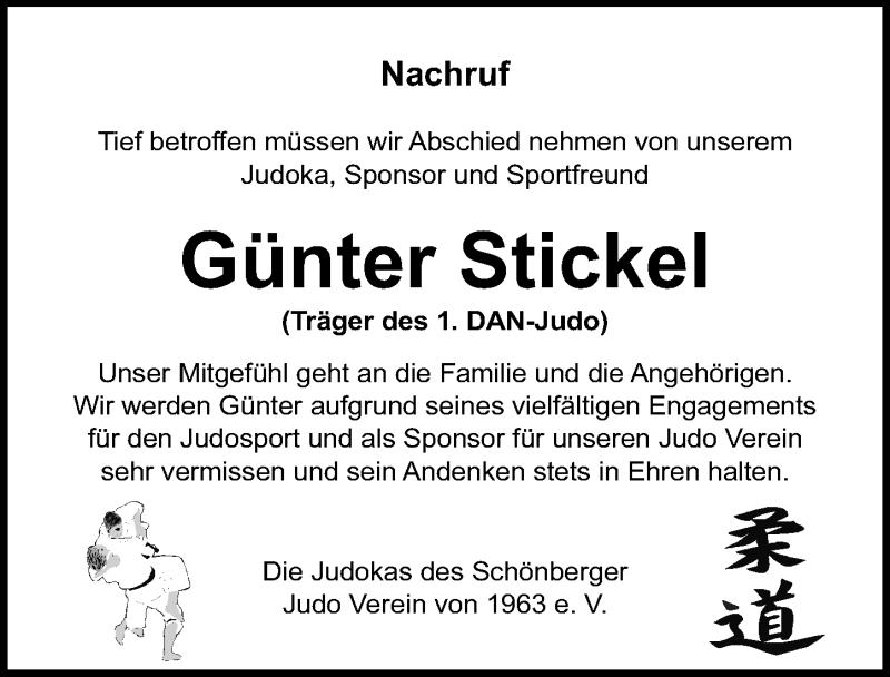 Traueranzeige für Günter Stickel vom 19.09.2020 aus Ostsee-Zeitung GmbH