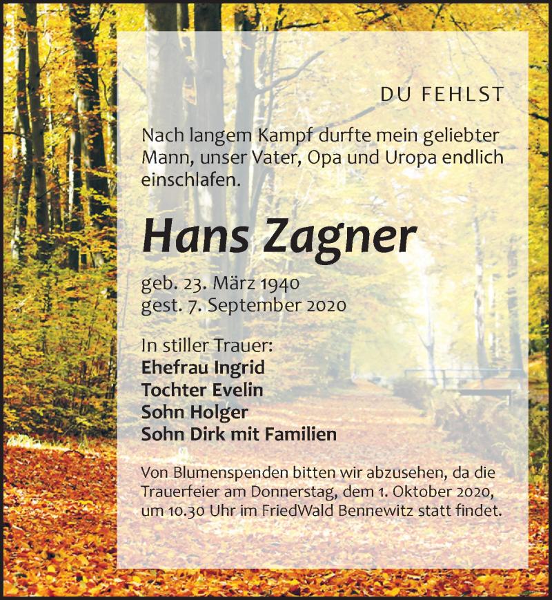 Traueranzeige für Hans Zagner vom 12.09.2020 aus Leipziger Volkszeitung