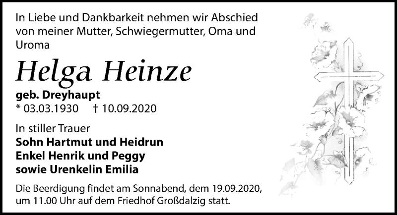 Traueranzeige für Helga Heinze vom 15.09.2020 aus Leipziger Volkszeitung