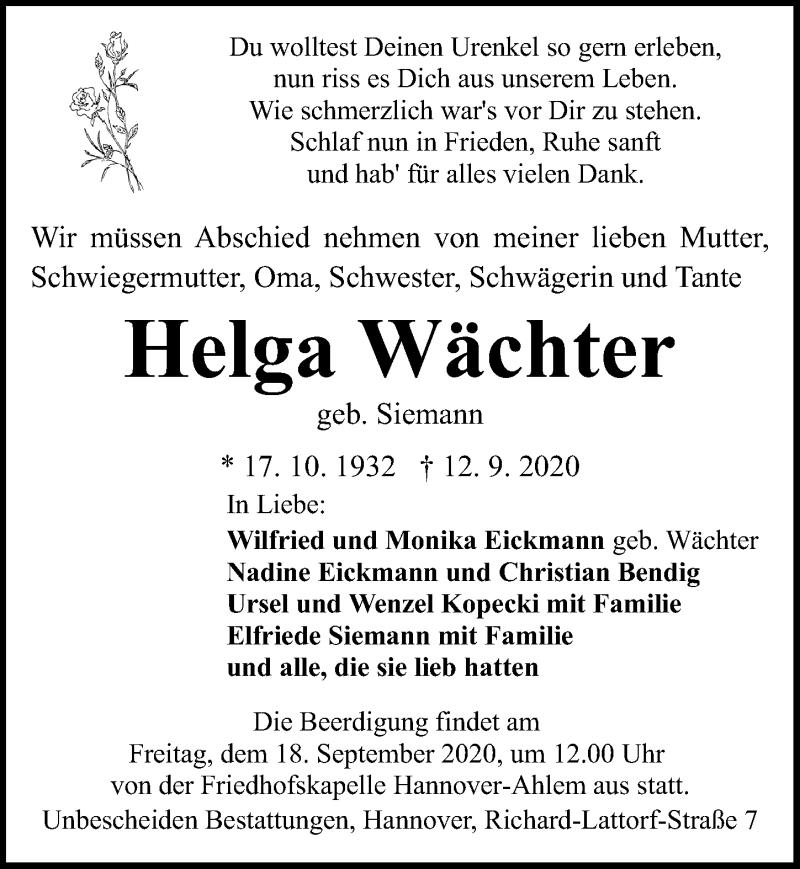 Traueranzeige für Helga Wächter vom 16.09.2020 aus Hannoversche Allgemeine Zeitung/Neue Presse