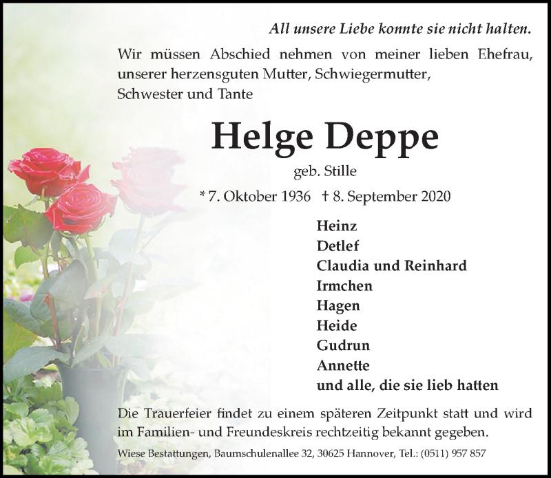 Traueranzeige für Helge Deppe vom 12.09.2020 aus Hannoversche Allgemeine Zeitung/Neue Presse