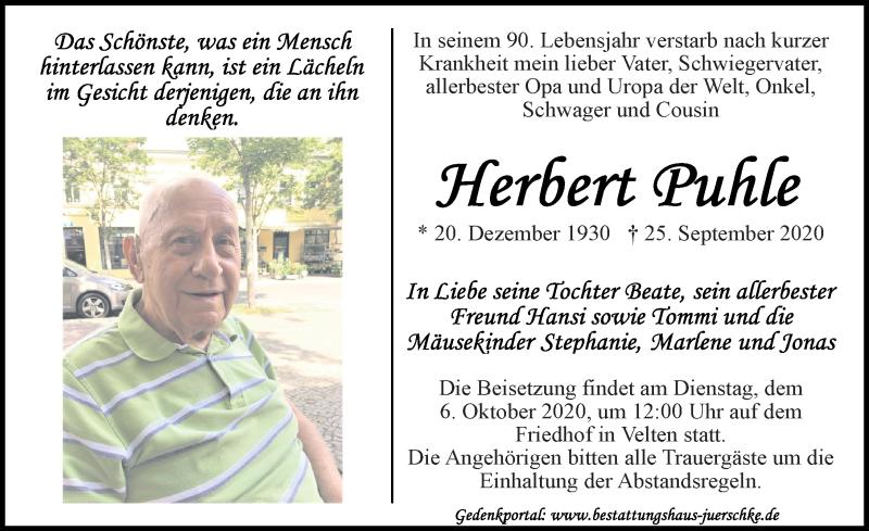 Traueranzeige von  Herbert Puhle