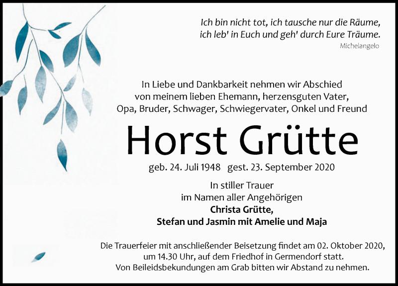 Traueranzeige von  Horst Grütte