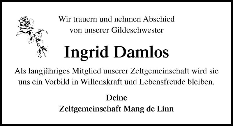 Traueranzeige für Ingrid Damlos vom 17.09.2020 aus Lübecker Nachrichten