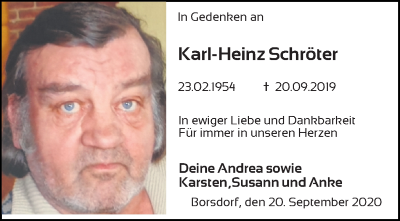 Traueranzeige für Karl-Heinz Schröter vom 21.09.2020 aus Leipziger Volkszeitung