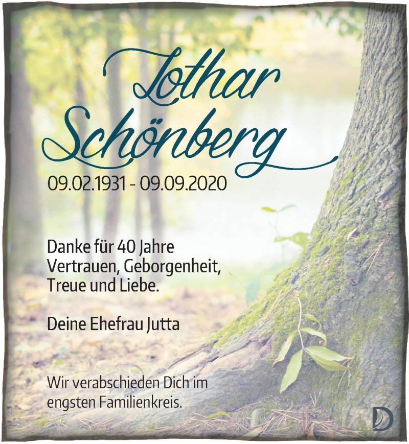 Traueranzeige für Lothar Schönberg vom 12.09.2020 aus Leipziger Volkszeitung