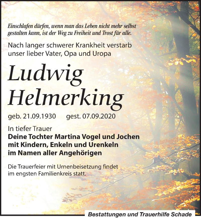 Traueranzeige für Ludwig Helmerking vom 19.09.2020 aus Leipziger Volkszeitung