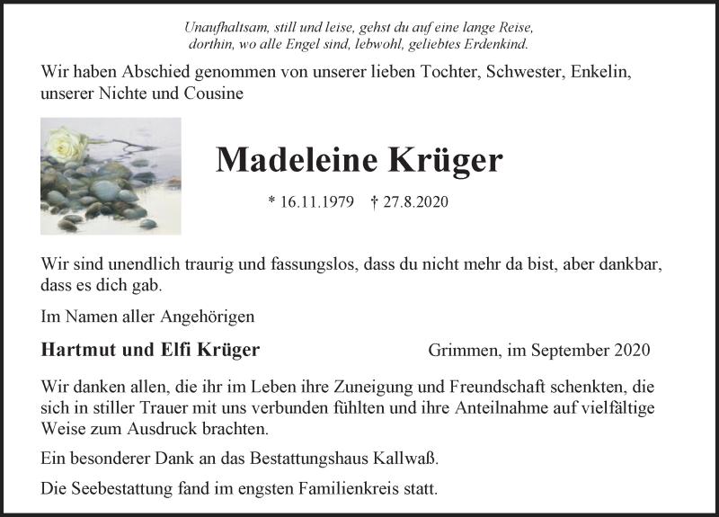 Traueranzeige für Madeleine Krüger vom 19.09.2020 aus Ostsee-Zeitung GmbH