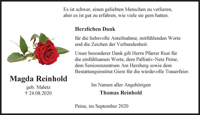Traueranzeige für Magda Reinhold vom 19.09.2020 aus Peiner Allgemeine Zeitung