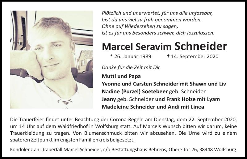 Traueranzeige für Marcel Seravim Schneider vom 19.09.2020 aus Aller Zeitung