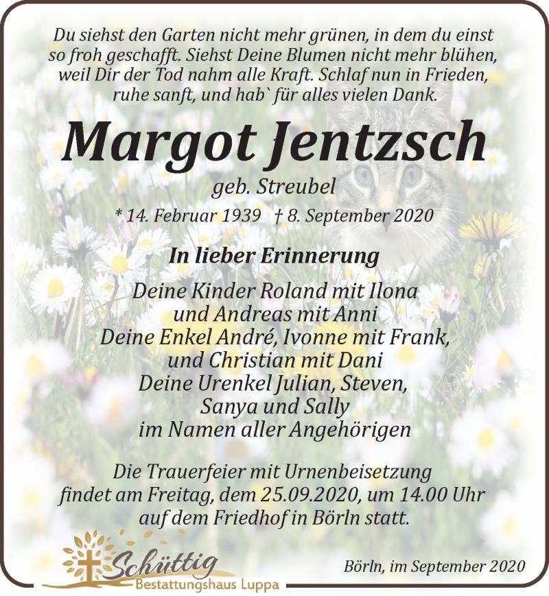 Traueranzeige für Margot Jentzsch vom 12.09.2020 aus Leipziger Volkszeitung