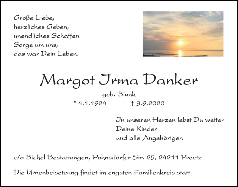 Traueranzeige für Margot Irma Danker vom 12.09.2020 aus Kieler Nachrichten