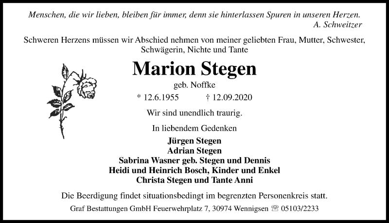 Traueranzeige für Marion Stegen Stegen vom 16.09.2020 aus Hannoversche Allgemeine Zeitung/Neue Presse