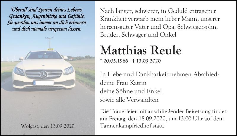 Traueranzeige für Matthias Reule vom 16.09.2020 aus Ostsee-Zeitung GmbH