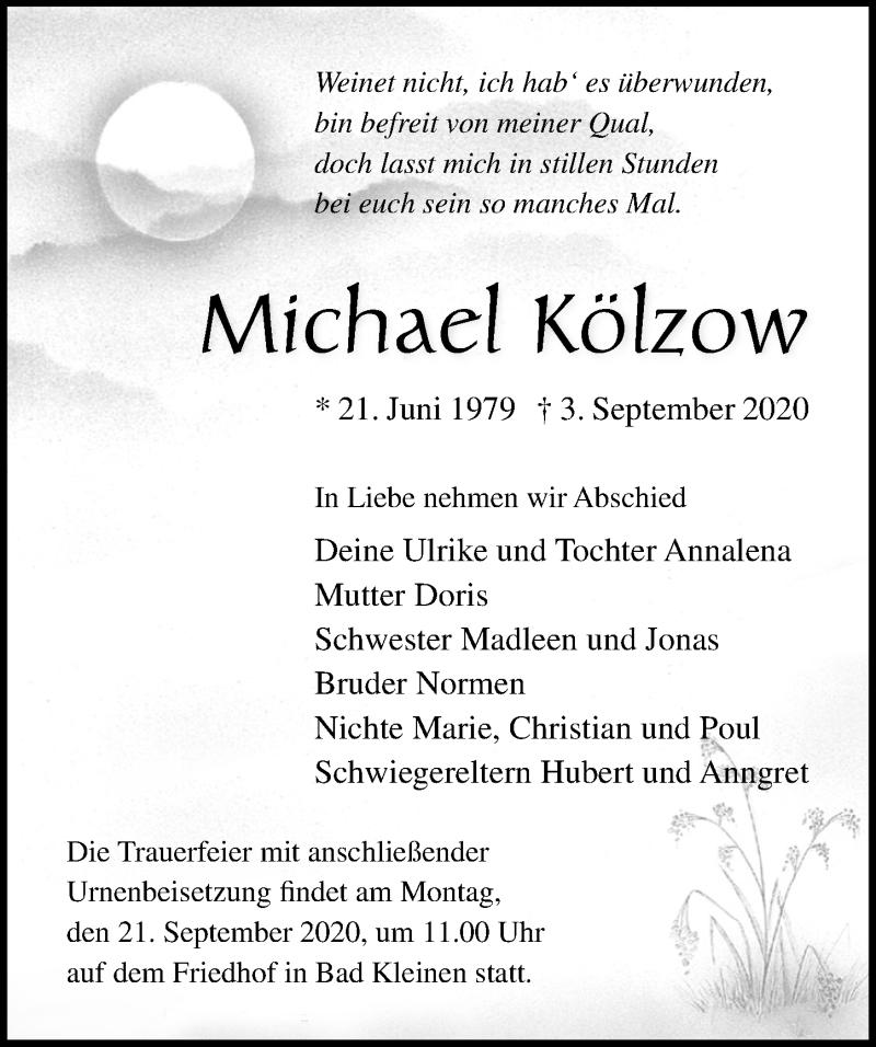 Traueranzeige für Michael Kölzow vom 12.09.2020 aus Ostsee-Zeitung GmbH