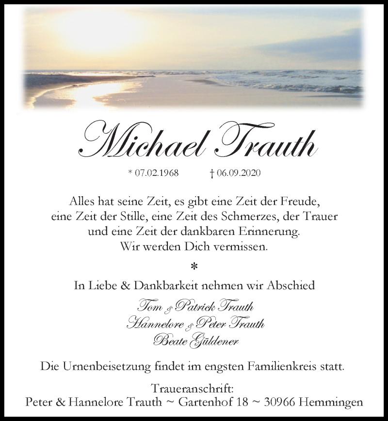 Traueranzeige für Michael Trauth vom 12.09.2020 aus Hannoversche Allgemeine Zeitung/Neue Presse