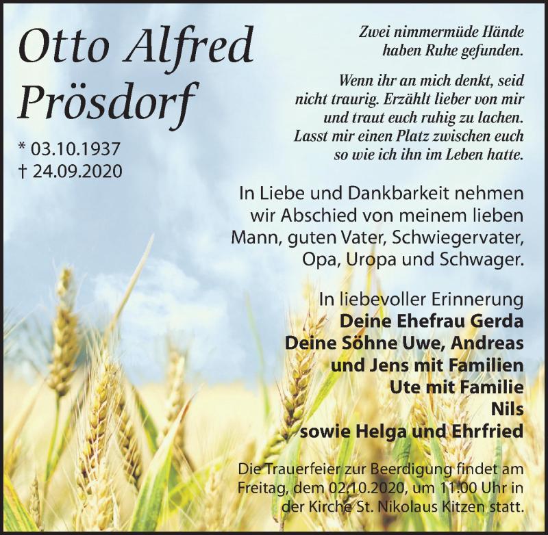 Traueranzeige von  Otto Alfred Prösdorf