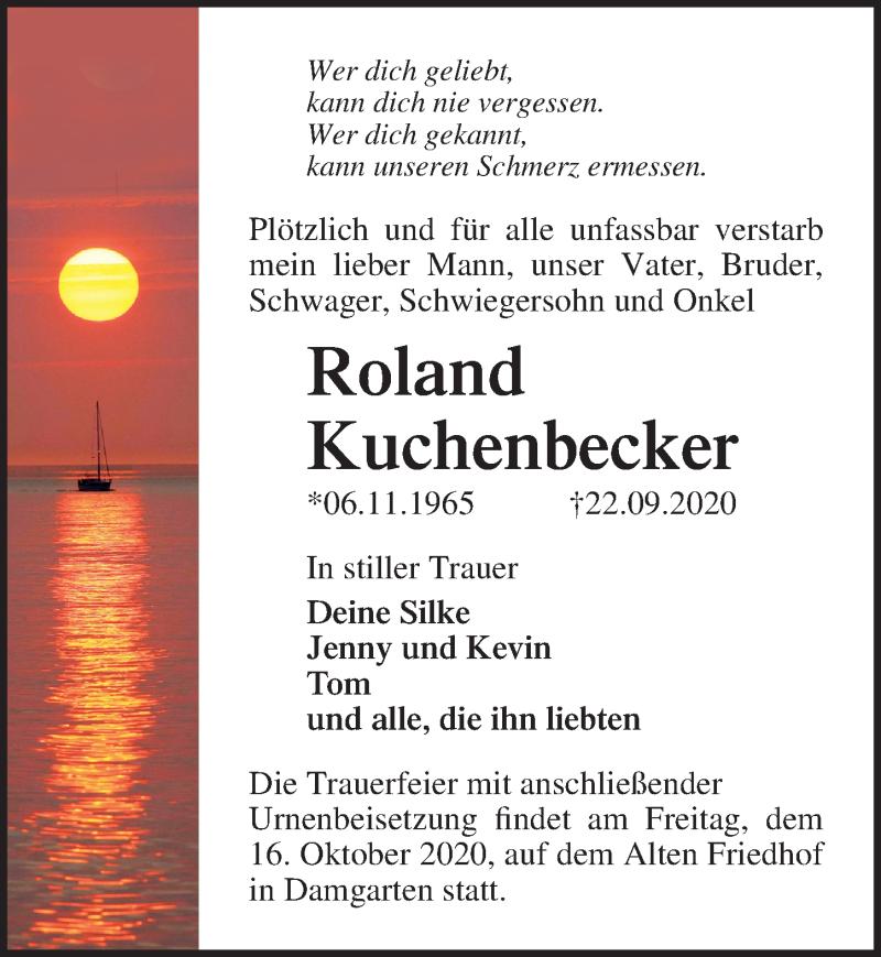 Traueranzeige für Roland Kuchenbecker vom 26.09.2020 aus Ostsee-Zeitung GmbH