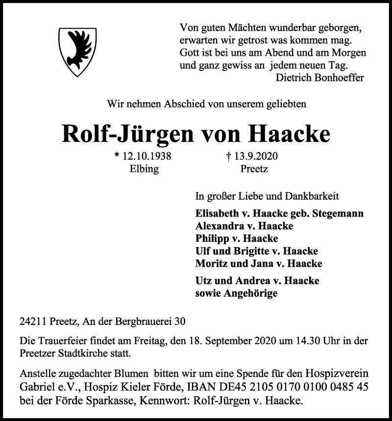 Traueranzeige für Rolf-Jürgen von Haacke vom 16.09.2020 aus Kieler Nachrichten