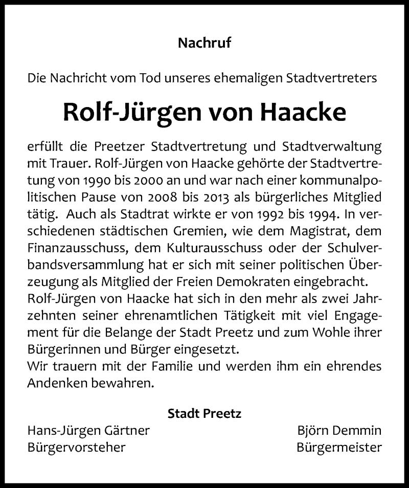 Traueranzeige für Rolf-Jürgen von Haacke vom 19.09.2020 aus Kieler Nachrichten