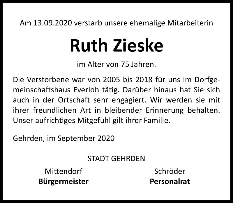 Traueranzeige für Ruth Zieske vom 22.09.2020 aus Hannoversche Allgemeine Zeitung/Neue Presse