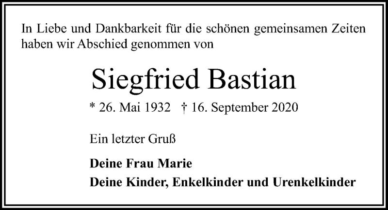 Traueranzeige von  Siegfried Bastian