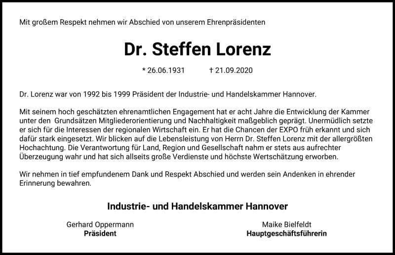Traueranzeige von  Steffen Lorenz
