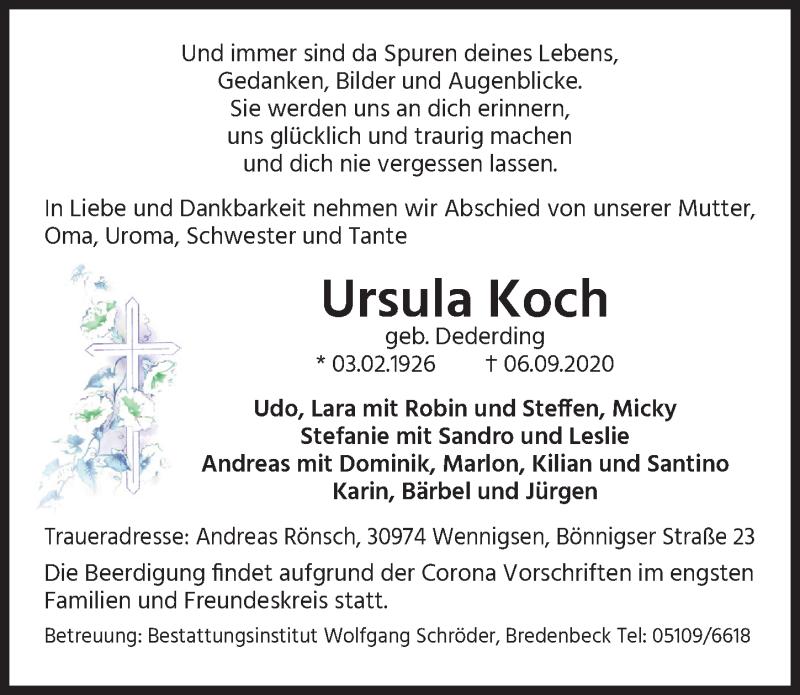 Traueranzeige für Ursula Koch vom 09.09.2020 aus Hannoversche Allgemeine Zeitung/Neue Presse