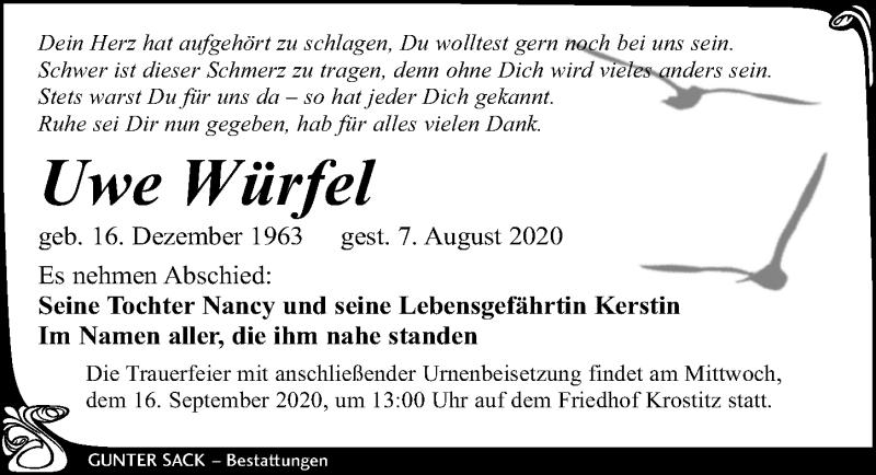 Traueranzeige für Uwe Würfel vom 09.09.2020 aus Leipziger Volkszeitung