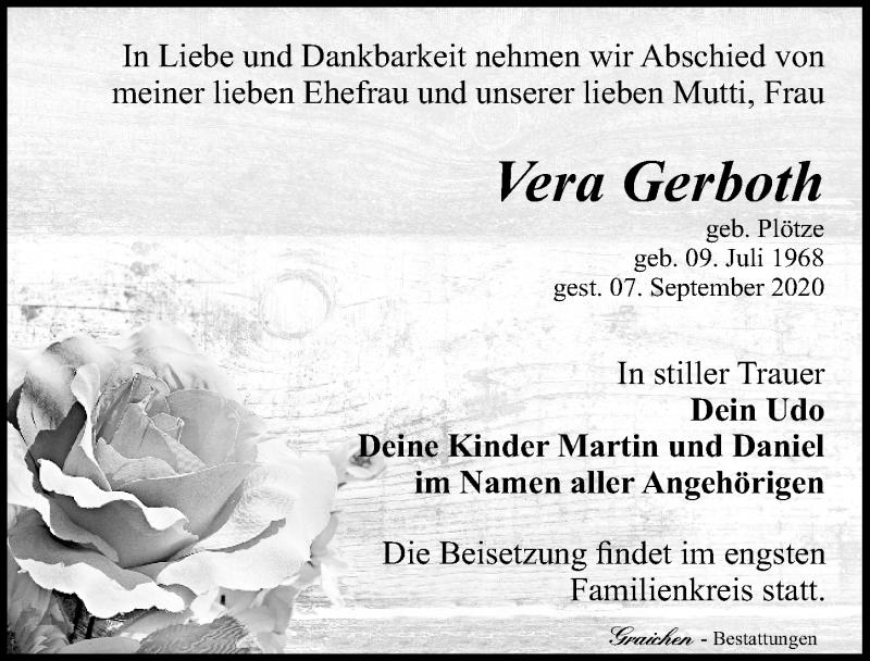 Traueranzeige für Vera Gerboth vom 12.09.2020 aus Leipziger Volkszeitung