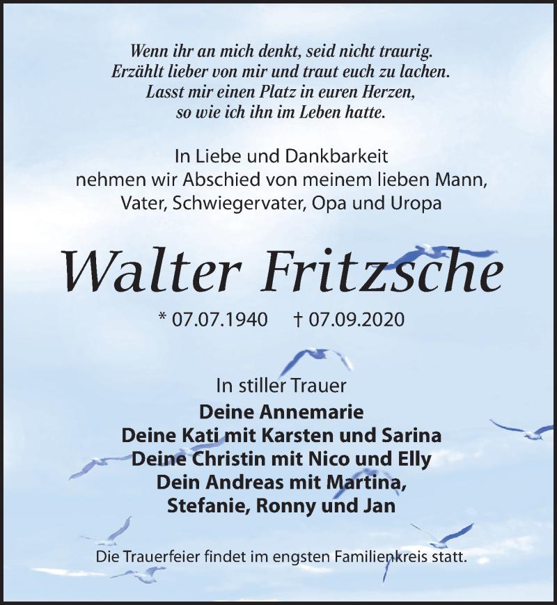 Traueranzeige für Walter Fritzsche vom 12.09.2020 aus Leipziger Volkszeitung