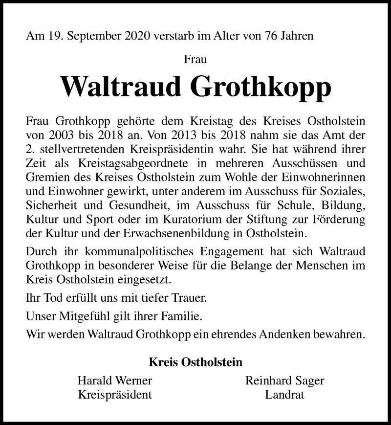 Traueranzeige von  Waltraud Grothkopp
