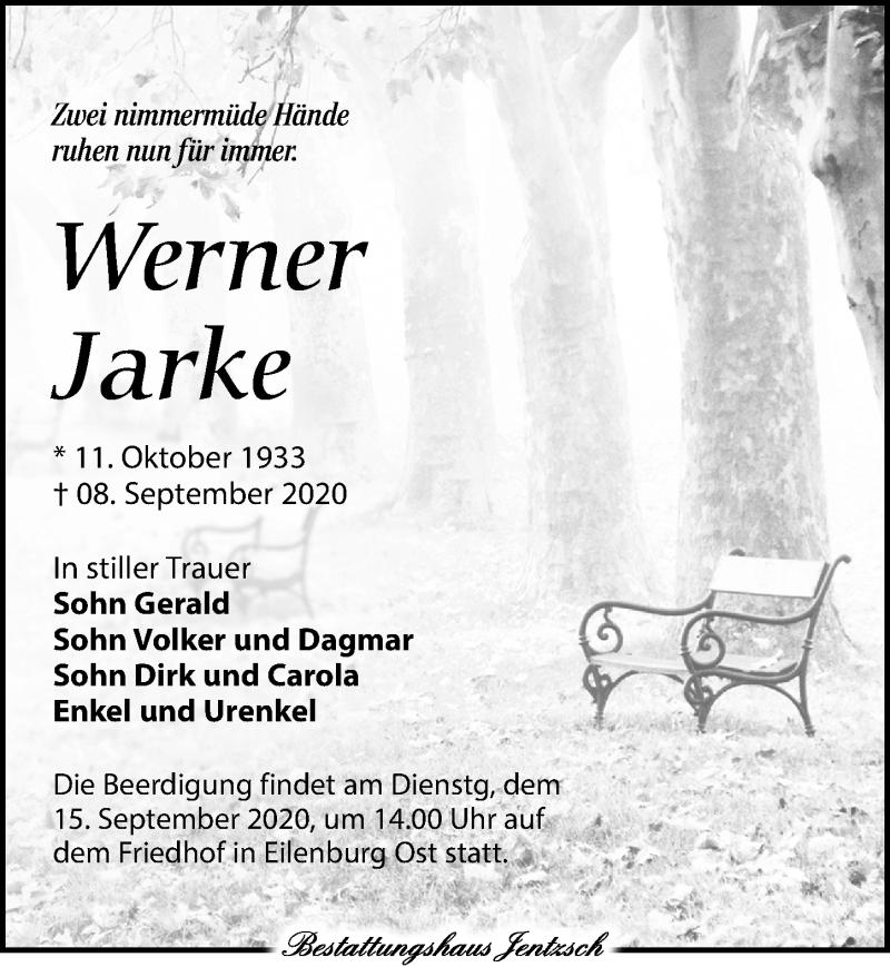 Traueranzeige für Werner Jarke vom 12.09.2020 aus Leipziger Volkszeitung