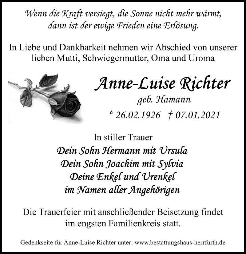Traueranzeige für Anne-Luise Richter vom 09.01.2021 aus Märkischen Allgemeine Zeitung
