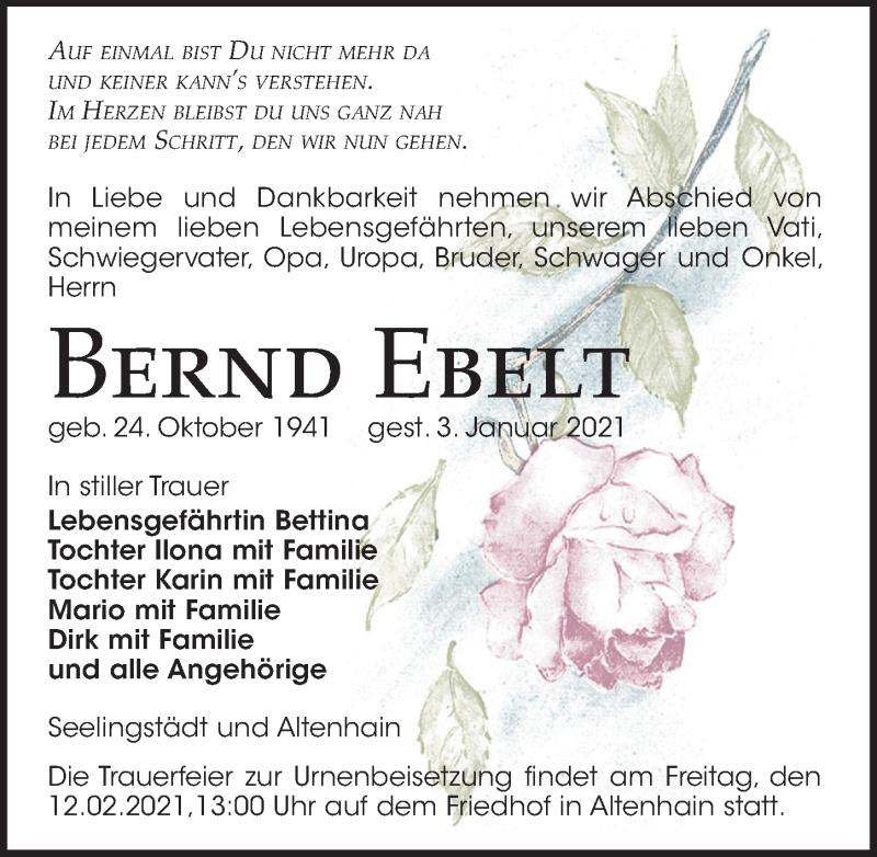 Traueranzeige für Bernd Ebelt vom 09.01.2021 aus Leipziger Volkszeitung