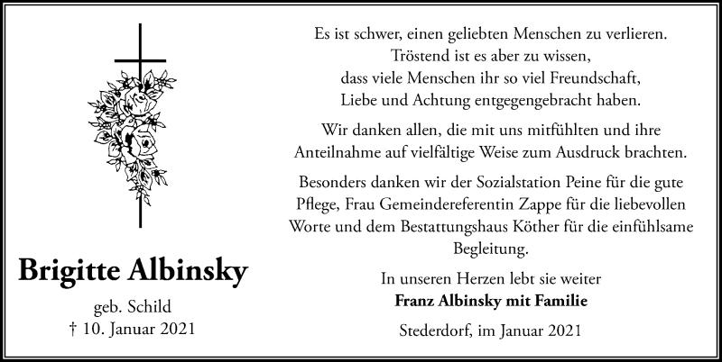 Traueranzeige für Brigitte Albinsky vom 27.01.2021 aus Peiner Allgemeine Zeitung