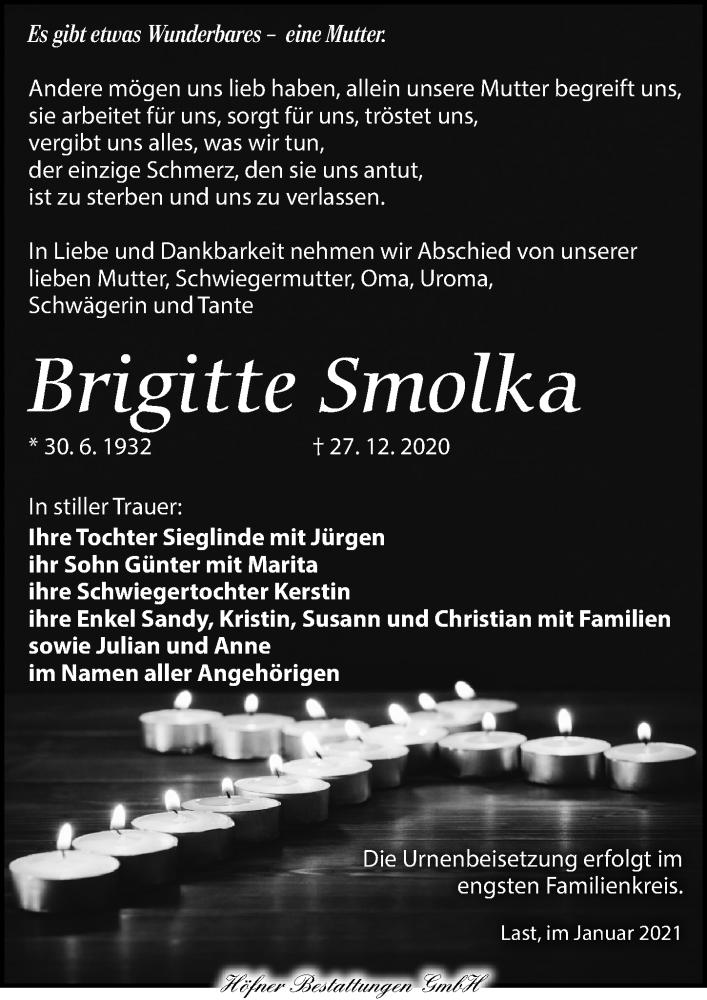 Traueranzeige für Brigitte Smolka vom 09.01.2021 aus Torgauer Zeitung