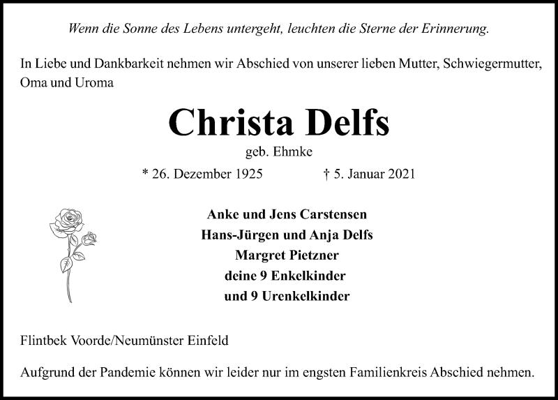 Traueranzeige für Christa Delfs vom 09.01.2021 aus Kieler Nachrichten